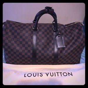 LV Louis Vuitton Keepall 50 Damier Ebene